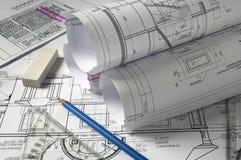 Bleistifte und Pläne Stockfoto