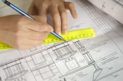 Bleistifte und Pläne Lizenzfreie Stockfotografie