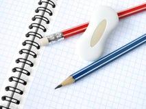 Bleistifte und Radiergummi Stockbilder