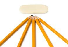 Bleistifte und Radiergummi Stockfotos