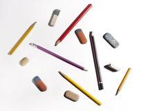 Bleistifte und Radiergummi Lizenzfreies Stockfoto