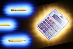 Bleistifte und Rechner Lizenzfreies Stockbild