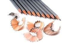 Bleistifte und Schnitzel Stockbilder