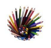 Bleistifte und Zeichenstifte in einem Cup Lizenzfreies Stockfoto