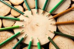 Bleistifte von grünen Schatten Stockbilder
