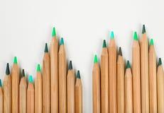 Bleistifte von grünen Schatten Stockfotografie