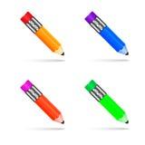 Bleistifte von verschiedenen Farben auf einem weißen Hintergrund stock abbildung