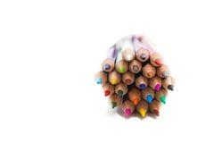 Bleistifte zusammen auf weißem Hintergrund Stockfotografie