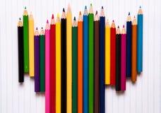 Bleistiftfarbe auf weißem Hintergrund Stockfotografie
