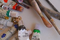 Bleistiftfarbmalereizeichnung Künstler-Tools-Kunst Stockbild