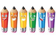 Bleistiftgesichtsausdruck-Karikaturzeichensatz Stockfoto