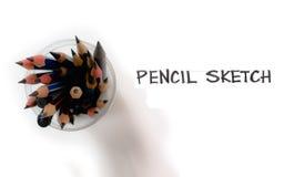 Bleistiftgruppenisolat und freihändiges Wort Stockfotos