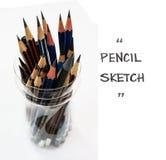 Bleistiftgruppenisolat und Kopienraum Stockfotografie