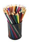 Bleistifthalter voll von Bleistiften Lizenzfreie Stockbilder
