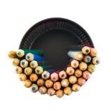 Bleistifthalter voll von Bleistiften Stockfotografie