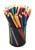 Bleistifthalter voll von Bleistiften Lizenzfreies Stockfoto