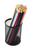 Bleistifthalter voll von Bleistiften Stockbilder
