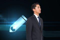 Bleistiftikone auf futuristischem Hintergrund Lizenzfreies Stockfoto