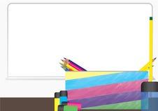Bleistiftkasten-Vektor classsroom Hintergrund stock abbildung