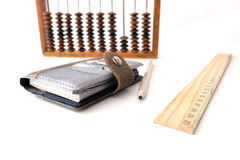Bleistiftmachthaber-Schulnotizbuch Stockfoto