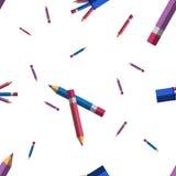 Bleistiftmuster Flache Illustration des Vektors Stockfotografie