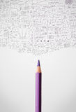 Bleistiftnahaufnahme mit Diagrammen Stockfotos