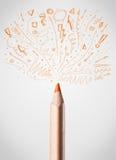 Bleistiftnahaufnahme mit flüchtigen Pfeilen Lizenzfreie Stockbilder