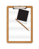 Bleistiftpolaroid des angeordneten Papiers des Schule-Klemmbrettes Stockfoto