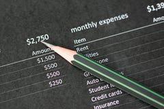 Bleistiftpunkte zur Zahl auf Datenpapier Stockbild
