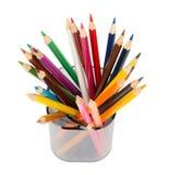 Bleistiftschale mit Zeichenstiften, Draufsicht Lizenzfreies Stockfoto