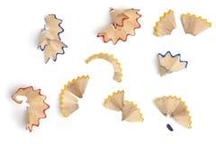 Bleistiftschnitzel, verschiedene Farben Stockbilder