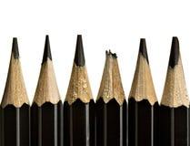 Bleistiftspitzen, eine unterbrochen Stockfotografie