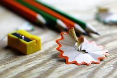 Bleistiftspitzer-Abfallholz Stockbilder