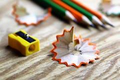 Bleistiftspitzer-Abfallholz Stockfotografie
