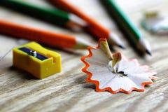 Bleistiftspitzer-Abfallholz Lizenzfreie Stockfotos