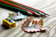 Bleistiftspitzer-Abfallholz Stockfoto