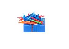 Bleistiftspitzer auf einem weißen Blatt Papier Lizenzfreie Stockfotografie