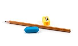 Bleistiftspitzer, Bleistift und Radiergummi Stockfoto