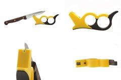 Bleistiftspitzer für ein Messer Stockfotos