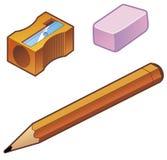 Bleistiftspitzer-Radiergummi-Bleistift Lizenzfreies Stockbild