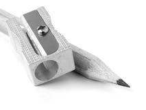 Bleistiftspitzer und Bleistift Lizenzfreies Stockfoto