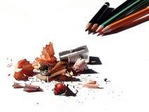 Bleistiftspitzer und Rasuren Stockfotos
