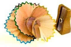 Bleistiftspitzer und Schnitzel Lizenzfreie Stockfotos
