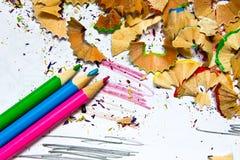 Bleistiftspitzerabfall Lizenzfreie Stockbilder
