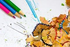Bleistiftspitzerabfall Stockfoto