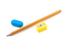 Bleistiftspitzerbleistift und -radiergummi Stockfoto