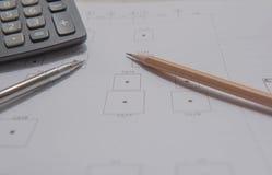 Bleistiftstift und -taschenrechner auf Plänen Architektur- und Technikwohnungskonzept Lizenzfreie Stockfotos