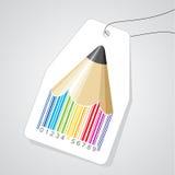 BleistiftStrichkode mit Marke Lizenzfreies Stockfoto