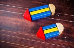 Bleistiftsymbol von den Farbholzklötzen Lizenzfreie Stockbilder