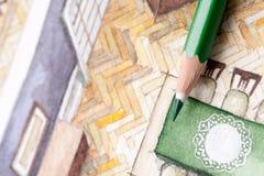 Bleistifttipp auf Wohnzimmergrundriss-Aquarellillustration Lizenzfreie Stockbilder